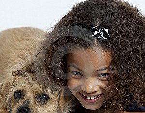 Close Up Of Little Girl With Dog Royalty Free Stock Image - Image: 14095916