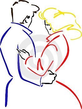 Vector Illustration Embracing Men And Women Royalty Free Stock Photos - Image: 14097678