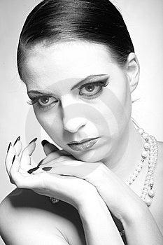 B/w Portrait Of Sexy Fashion Woman Royalty Free Stock Photo - Image: 14098265