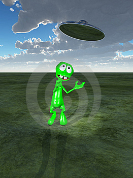Little Green Alien And UFO Royalty Free Stock Image - Image: 14099716