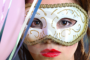 Brunette With Mask Closeup Royalty Free Stock Images - Image: 1418549