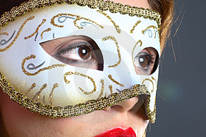 Brunette With Mask Closeup Royalty Free Stock Photo - Image: 1418605