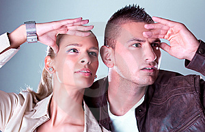 Young Pretty Couple Stare Somewhere Stock Image - Image: 14100091
