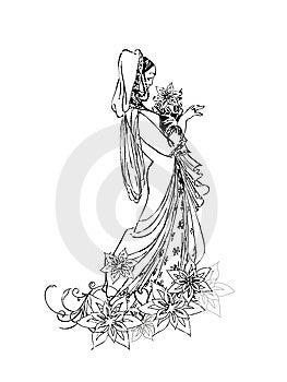 Stylized Bride Royalty Free Stock Image - Image: 14100406