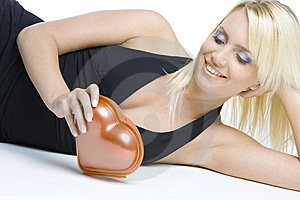 Woman With Chocolate Box Stock Photography - Image: 14106872