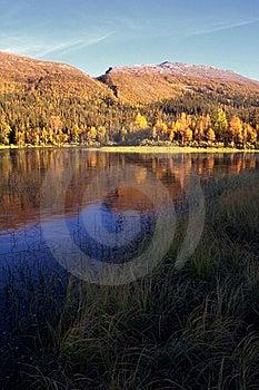 Mountain Lake In Sunset Stock Photo - Image: 14111300