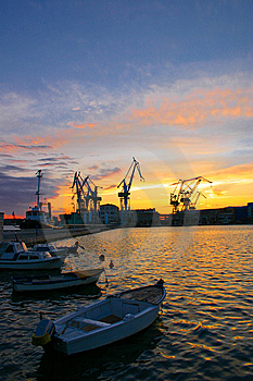 Harbor At Sunset Royalty Free Stock Photos - Image: 14114118
