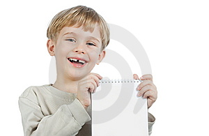 Little Boy With A Notebook Stock Photography - Image: 14114342