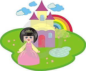 The Little Princess And The Fantastic Castle Stock Photo - Image: 14116850