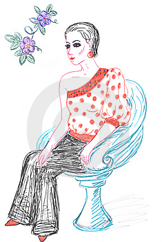 Woman And Fashionable Clothing, Sketch Royalty Free Stock Images - Image: 14117899