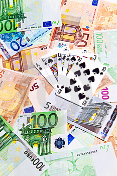 Spades Cards And Euro Banknotes. Stock Images - Image: 14126264