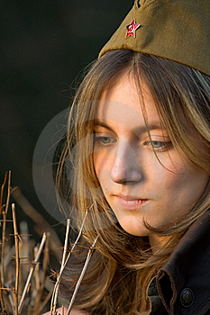 Girl In Military Cap Royalty Free Stock Images - Image: 14128159