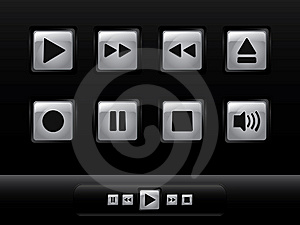 Silver Music Buttons Stock Photo - Image: 14132910
