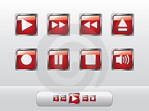 Glossy Red Music Buttons Royalty Free Stock Photo - Image: 14132925