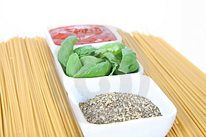 Ingredients For Spaghetti Bolognese Or Napoli Stock Image - Image: 14138311