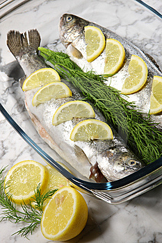 Fish On A White Plate With Lemons And Dill Royalty Free Stock Photo - Image: 14138745
