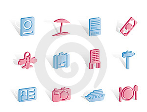 Travel, Trip And Holiday Icons Royalty Free Stock Images - Image: 14140329