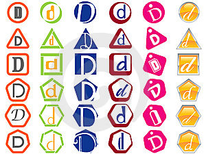 Letter D Icons Badges And Tags Stock Image - Image: 14142861
