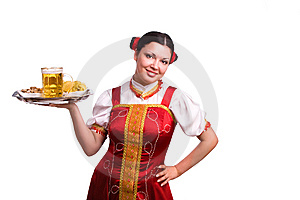 German/Bavarian Woman With Beer Royalty Free Stock Photos - Image: 14144888