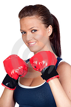 Attractive Girl Practicing Boxing Royalty Free Stock Photos - Image: 14146218