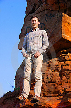Handsome Male Fashion Model Outdoors Stock Image - Image: 14146281