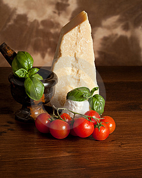 Ricotta  With Basil And Tomatoes Stock Images - Image: 14147044