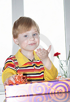 The Boy With A Gift Stock Photo - Image: 14148960