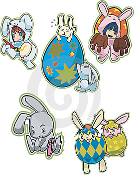 Easter Eggs & Bunnies Royalty Free Stock Image - Image: 14150136
