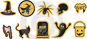 Unique Halloween Icons Royalty Free Stock Image - Image: 14150266