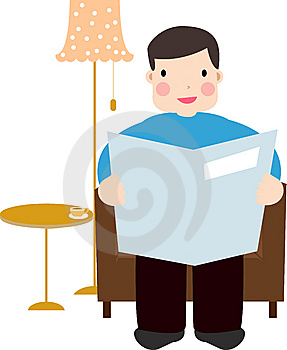 Man Reading Newspaper Stock Images - Image: 14150974