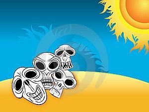 Skulls On The Desert Beach Stock Photos - Image: 14151003