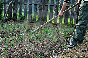 Girl Spading In The Garden Royalty Free Stock Photography - Image: 14151297