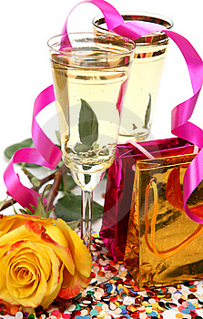 Wine And Rose Royalty Free Stock Photography - Image: 14155547