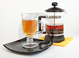 Сup Of Tea On Black Plate With Teapot Royalty Free Stock Photography - Image: 14155747