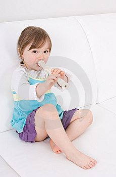 Little Girl With Instrument Stock Photo - Image: 14159450