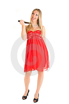 Blond Woman In Red Dress And Knife Royalty Free Stock Image - Image: 14160546