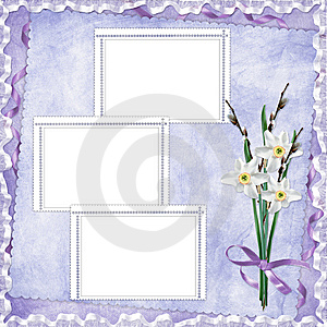 Card For Holiday With Flowers Stock Image - Image: 14162591