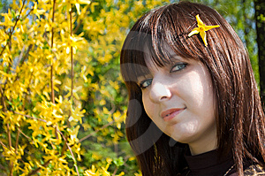 Beautiful Girl With Spring Flowers Royalty Free Stock Photo - Image: 14164905