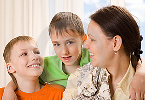Mother With  Children Together Royalty Free Stock Images - Image: 14165199
