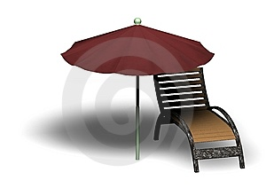 Beach Parasol And Deckchair Stock Photography - Image: 14165412