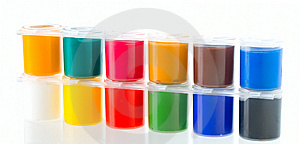 Multicolored Set Of Gouache Painting Stock Photo - Image: 14166910
