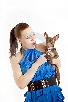 Young Beautiful Woman Holding Toy Terrier Dog Stock Photo - Image: 14168460