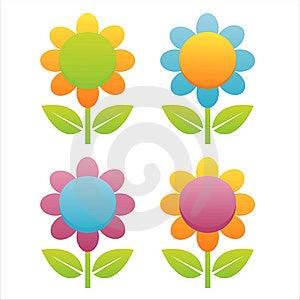 Set Of 4 Flowers Stock Image - Image: 14169681