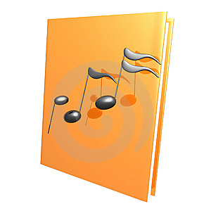 Music Notes And Golden Book Reference Icon Stock Photo - Image: 14171420
