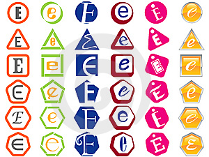 Letter E Icons Badges And Tags Royalty Free Stock Photo - Image: 14171985