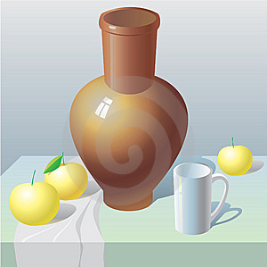 Still Life With Pot And Apples Royalty Free Stock Image - Image: 14176736