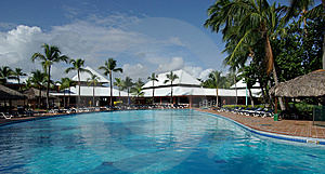A Pool Is In A Quiet Hotel Stock Photo - Image: 14183000