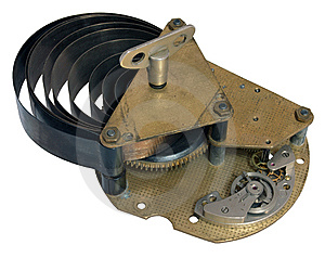 Part Of The Old Clock Mechanism With A Spring Diss Stock Photography - Image: 14186172