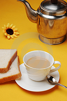 Milky Tea With Bread Stock Photography - Image: 14188322
