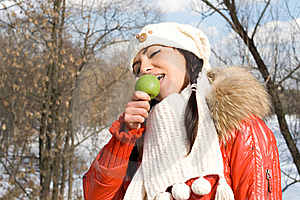 Funny Girl Eating Apple Stock Photography - Image: 14188522